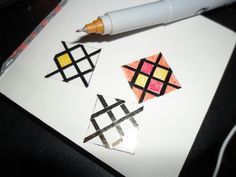 Miniature Stained Glass Windows, uses foil tape and colored Sharpie markers on plastic.