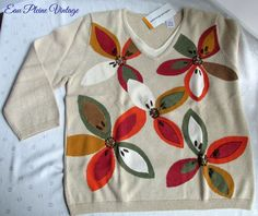 "Alfred Dunner Tan Floral Embellished Sweater Misses Small ""Santa Fe"" V Neck NWT"