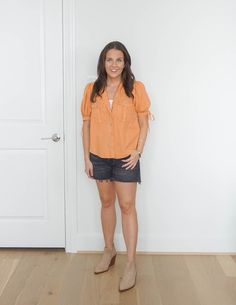 summer outfit | short sleeve button up top | faded black denim shorts | Affordable Fashion Blog Lady in Violet Light Blue Jeans, Light Wash Jeans, Burnt Orange Dress, Casual Outfits, Summer Outfits, Different Seasons, Short Sleeve Button Up, Cool Jackets, Colored Denim