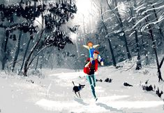 An early winter  ..on daddy's shoulders #pascalcampion    I'll  confess.. for this one, I was really just trying to draw and paint  snow......