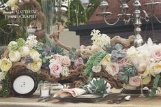 flowers and succulent centerpieces - Rustic Vintage Tabletop