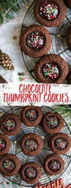 Chocolate thumbprint cookies, great for the festive season! #cookies #chocolate #Christmas | via @annabanana.co