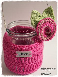 Crochet Jar cosy ༺✿ƬⱤღ  https://www.pinterest.com/teretegui/✿༻
