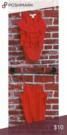 Red ruffled tank Never been worn Forever 21 Tops Tank Tops