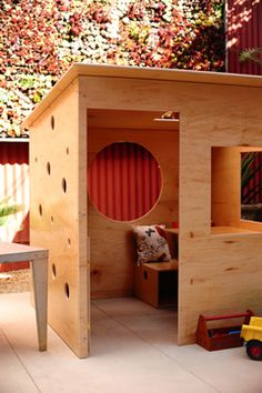 DIY playhouse, they are probably too big for this now, but I like it.