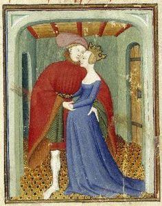 Semplice vestito con le maniche aderenti: BL MS Harley 4431, fol. 129, detail. The Book of the Queen, Selected Works of Christine de Pizan, 1410-1414AD.