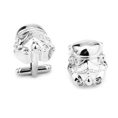 Silver Stormtrooper Cuff Links - Defend the Galaxy on your Big Day!