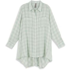 Melissa Mccarthy Seven7 Plus Gingham-Check Cotton Shirt (210 BRL) ❤ liked on Polyvore featuring plus size women's fashion, plus size clothing, plus size tops, green, plus size, cotton shirts, long sleeve cotton shirt, green gingham shirt and long sleeve tops