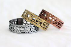 Geometric Laser cut Metallic Leather Bracelet by stylehybrid, $28.00