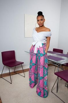 Atsu African Print Wide Leg Pants