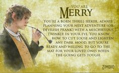 Took a quiz for which Lord of the Rings character are you and I Merry you should try this quiz