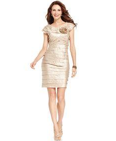 London Times Dress, Rosette Cocktail Dress
