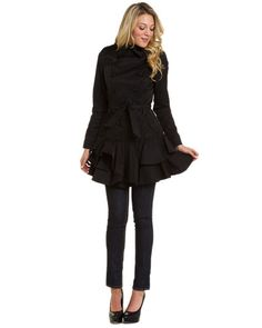 Betsey Johnson Black Ruffled Trench Coat- I WANT!