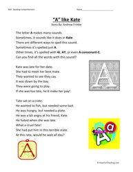a like kate second grade reading comprehension worksheet