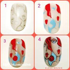 Stiletto Nail Art, 3d Nail Art, Nail Arts, Nail Art Designs Videos, Red Nail Designs, Bling Nails, 3d Nails, Picasso Nails, Hello Kitty Nails