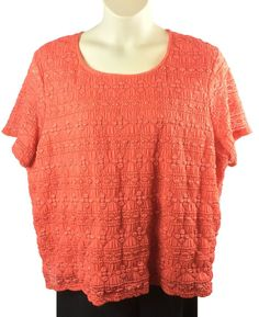 fc282199706 Womens East 5th Orange Blouse Plus Size 3X Cap Sleeve Stretch Woven  Poly Spandex