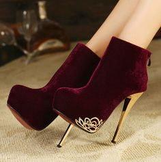 Attractive Suede Zipper Red Round Closed Toe Stiletto Super High Heel Boots