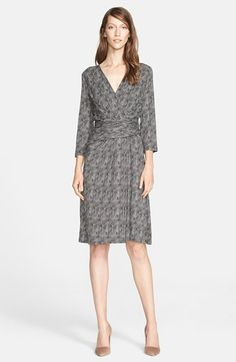 Free shipping and returns on Max Mara 'Abitata' Jersey Print Dress at Nordstrom.com. A modern black-and-white print mimics the look of tweed on a surplice-bodice dress, gathered at the waist for a shapely silhouette.