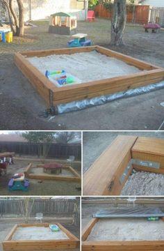 Kids Yard, Backyard For Kids, Backyard Projects, Outdoor Projects, Backyard Patio, Home Projects, Pallet Patio, Build A Sandbox, Kids Sandbox