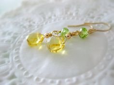 Yellow citrine and peridot gemstone earrings for by beadpod8, $22.00