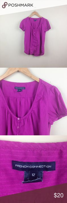 """French Connection purple peasant SZ 12 Shirt T107 measurementswhen flat: ~Bust (armpit to armpit) 20"""" ~length (shoulder down side) 20""""  size 12    PLEASE CONTACT ME with any questions orconcerns beforeor after a purchase! i am here to help! :) French Connection Tops Blouses"""