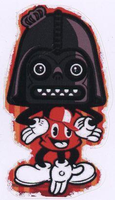 "The Dark Slide Vader Mouse Sticker Design by DeadVolt.  Sticker is approx 4"" x 2.5"""