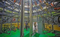A view inside a smart bike storage at Tianjin University of Technology and Education in Tianjin, China.