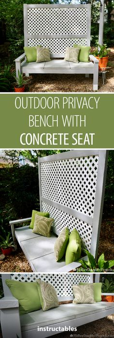 Outdoor Privacy Bench With Concrete Seat - Gartengestaltung Patio Seating, Garden Seating, Seating Areas, Garden Dividers, Diy Herb Garden, Herbs Garden, Garden Ideas, Privacy Screen Outdoor, Privacy Screens
