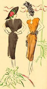 Fashion Ilustration Vintage Chic Dress Patterns 33 Ideas For 2019 Moda Fashion, 1940s Fashion, Fashion Art, Vintage Fashion, Dress Fashion, Jeans Fashion, Timeless Fashion, 40s Mode, Retro Mode
