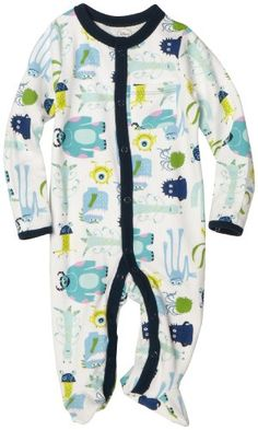 Disney Baby-Boys Newborn Disney Pixar Monsters, Inc Sleep and Play Romper, White, 3-6 Months -  Product Features  Newborn and 0-3 sizes have fold over mitt to protect baby from scratching Sizes 3-6, 6-9 sleeves have regular binding Center front openi
