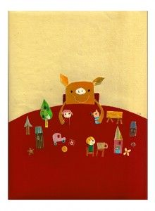 pepar collage by natsuko kawatsu Children's Book Illustration, Illustrations, Pig Art, Collages, Childrens Books, Sheep, Artsy, Kawaii, Mix Media