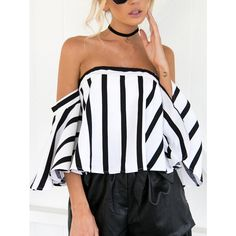 4e1e5e87730558 Off Shoulder Striped Zip Back Top ❤ liked on Polyvore featuring tops