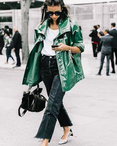 Green raincoat #collageonthestreet #streetstyle #paris #natashagoldenberg @ngoldenberg