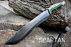 Handcrafted FOF Spartan Recurve Chopper Zombie Survival or Custom Tactical Blade. $495.00, via Etsy.