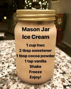 "My Keto Adventure #keto on Instagram: ""Mason Jar Ice Cream 🍨  A friend told me to add a tablespoon of vodka to it so it wouldn't get icy. I didn't have regular vodka on hand so I…"" Keto Cream, No Carb Ice Cream, Keto Whipped Cream, Whipped Cream Maker, Whipped Cream Desserts, Make Ice Cream, Ice Cream Diet, Ice Cream Deserts, Ice Cream Bread"
