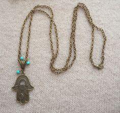Hamsa Hand Necklace, Boho Necklace, Turquoise Necklace