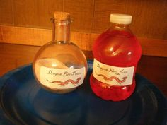 "Pour any flavor of red, powdered juice mix into a potion bottle. Label it ""dragonfire potion."" Provide bottles of water, labeled, ""dragonfire juice."" Shake the magic powder into the water bottles, replace the caps, and have kids shake their bottles to make their own, magic, dragonfire juice."