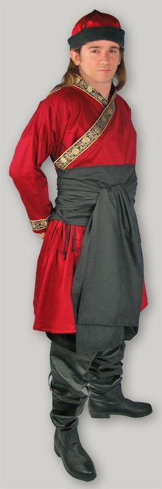 Mongolian outfit, patterned after 14th century example. men складки в сапоги