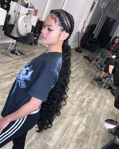 long black curly hair extensions Grade Brazilian Virgin Hair, cut from the young girls directly, full cuticle aligned, no chemical fiber mixed. Weave Ponytail Hairstyles, Braided Hairstyles For Black Women, Ponytail Styles, Baddie Hairstyles, African Braids Hairstyles, Curly Hair Styles, Natural Hair Styles, Full Ponytail, Black Hairstyles