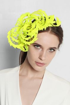 d8078b07ef97c Neon-yellow guipure lace Slips on Spot clean Fascinator Hairstyles