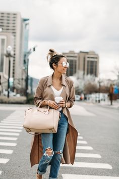 HelloFashionBlog: High waisted distressed denim and neutral pieces for spring