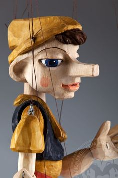 Pinocchio Marionette Puppet Hand Carved in Czech Republic
