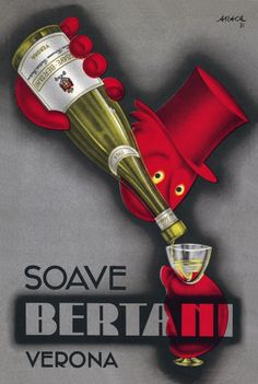 #Bertani #Vintage #Wine #Poster Collection no.4. One of the most prestigious cellars in #Valpolicella #Valpantena. Here with an #Art Deco representation of its #Soave