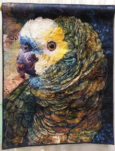 Ruffled Feathers, a quilt by Roxanne Nelson. From Houston Intl Quilt Festival, is the type of quilting I aspire to do! Quilts Canada, International Quilt Festival, Raw Edge Applique, Bird Quilt, Animal Quilts, Thread Painting, Applique Quilts, Fabric Art, Bird Art