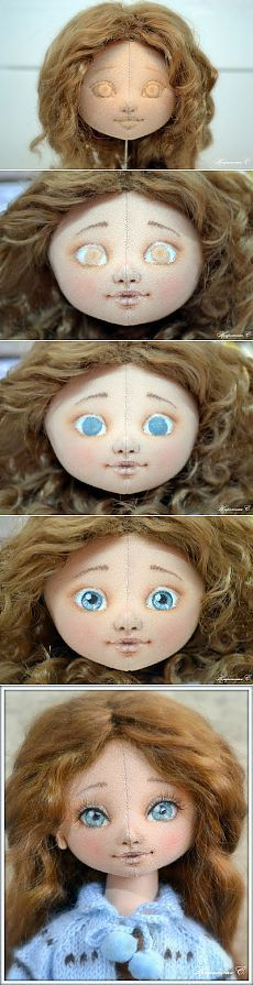 Как сделать самые красивые глазки для текстильной куколки.