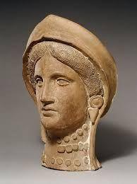 The headpiece on this statues head resembles the stephane that a Greek women would have worn on her wedding day.Terracotta head of a woman wearing a stephane Period: Cypro-Classical II Date: ca. Ancient Greece, Ancient Egypt, Greek Fashion, Italian Pottery, Archaeological Finds, Minoan, Terracota, Greek Wedding, Ancient Art
