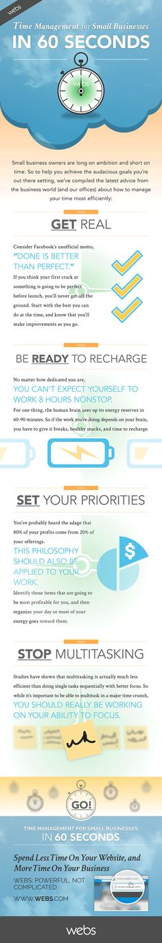 Time Management Tips for Small Business Owners [INFOGRAPHIC] - An Infographic from Marketing Mojo for Small Business time management work from home time management Business Management, Business Planning, Business Tips, Online Business, Business Infographics, Business Leaders, Business Marketing, Online Marketing, Media Marketing
