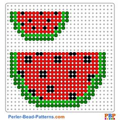 Watermelon Perler Bead Pattern and Designs Melty Bead Patterns, Pearler Bead Patterns, Beading Patterns Free, Perler Patterns, Pearler Beads, Beaded Cross Stitch, Cross Stitch Patterns, Bordado Tipo Chicken Scratch, Pearl Beads Pattern