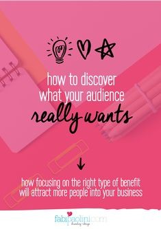 What your audience really wants! How focusing on the right type of benefit will attract more people into your // Fabi Paolini Business Marketing, Content Marketing, Business Branding, Business Tips, Online Marketing, Online Business, Business Articles, Business Coaching, Business Offer