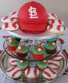 Cardinals cake, cupcakes, and cookies from CAKES & OTHER BAKES in St. Louis
